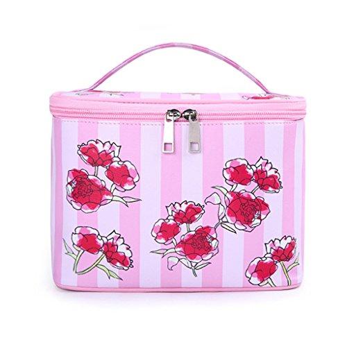 CLOTHES- Scatola di immagazzinaggio cosmetico della scatola di immagazzinaggio di alta capacità del sacchetto cosmetico Caso di immagazzinaggio di viaggio di caso astuto portatile ( Colore : Blu ) Rosa