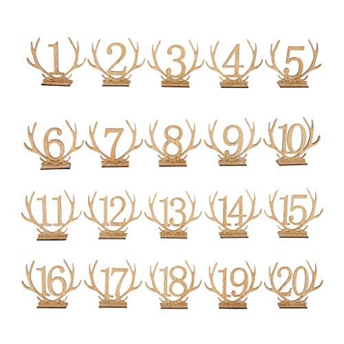 Homyl Vintage Geweih Tischzeichen Tischnummer Dekoration mit Holzständer, Ideal für Landhochzeit Weihnachten und Party