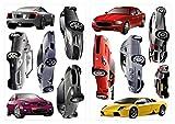 dekodino Sticker mural voitures comme dans la vraie vie set décoration
