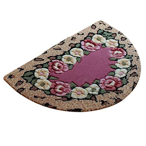 Xuetaimeigu Half Moon Fußmatte Eingangsbereich Teppich weich waschbar Türmatte innen, 5 Styles, 3 Größen (Color : E, Size : 50x80cm)