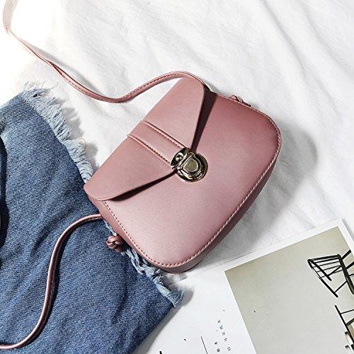 Sprnb La Nuova Moda Nuova Borsa Donna Retrò Tutti-Match Spalla Semplice Messenger Femmina Libero Bag,Argentea Pink
