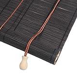 Tende a rullo Persiane in bambù Nero con Gancio, Schermo Privacy Trasmissivo/Parasole for Porta della Finestra della Cucina, Dimensioni Opzionali (Size : 60x200cm)