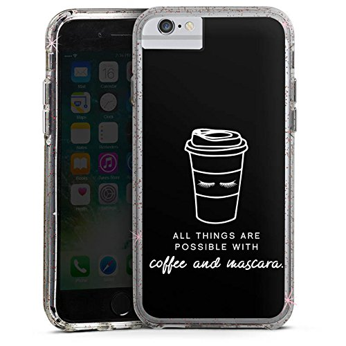 Apple iPhone 6s Bumper Hülle Bumper Case Glitzer Hülle Mascara Kaffee Spruch Bumper Case Glitzer rose gold