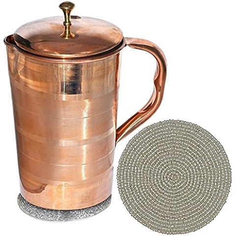 jarra de cobre pura con tapa para salud beneficios Copa India ware, capacidad de 1.6 litros