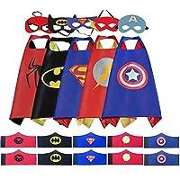 TATAFUN Capa de superhéroe para Niños- Ideas Kit de Valor de Cosplay de diseño de Fiesta de cumpleaños de Navidad -5* Capa y 5 * máscaras y 5 *Pulseras