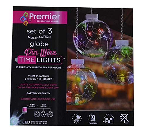 Premier Weihnachten hängende Dekoration Globe LED Pin Draht 3Pack-Mehrfarbig -