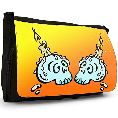Fancy A Bag Borsa Messenger nero Halloween Pumpkin Wearing Witch's Hat Witch's Skull as Candle Holder Dripping Wax