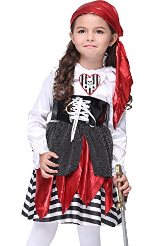 Uleade Baby Girl's Red Punk Piraten Kleinkind Halloween Kostüm