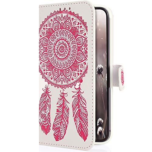 Uposao Kompatibel mit Samsung Galaxy S10 Plus Hülle Brieftasche Handyhülle Traumfänger Mandala Blume Leder Schutzhülle Wallet Flip Book Case Handy Tasche Ständer Kartenfächer Magnet,Rosa Weiß