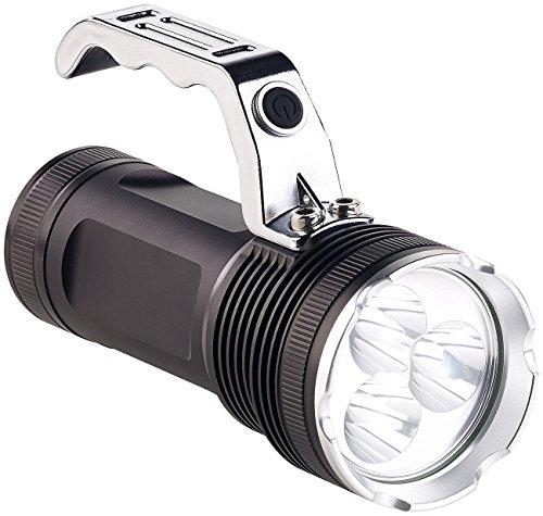 KryoLights Taschenlampe: LED-Handstrahler mit 3 Cree-LEDs & Akku, Alu-Gehäuse, 2.300 lm, IP54 (Akku LED Handscheinwerfer)