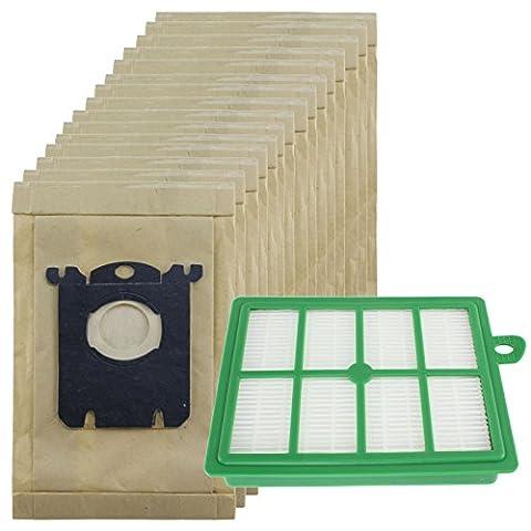 spares2go robuste la poussière Sacs & EFH12Kit filtre pour aspirateur ELECTROLUX Oxygen (Lot de 15sacs + 1filtre)