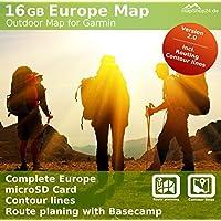 16GB Europa mappa Outdoor, compatibile con Garmin Montana 650t
