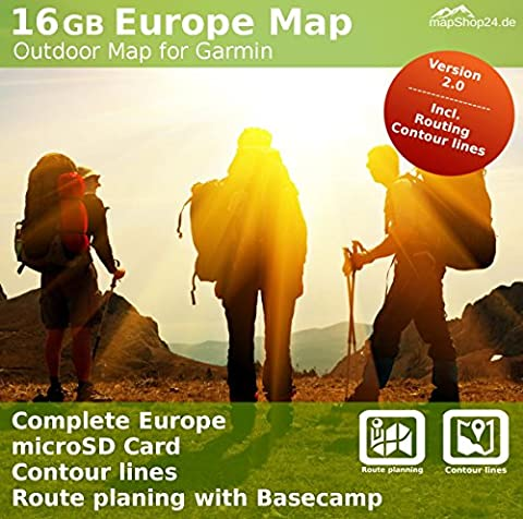 Complete Europe Topo Map + UK for Garmin devices - Walking, hiking, climbing & Mountain Biking