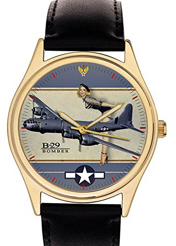 boeing-b29superfortress-ww-ii-pinup-art-commemorative-usaaf-aviazione-orologio-da-polso