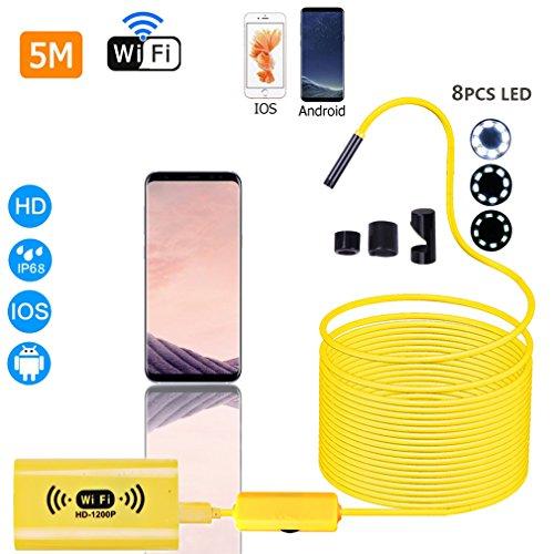 BRIGHTSHOW Kabelloses Endoskop WiFi Endoskopkamera wasserdichte Inspektionskamera mit 2,0 Megapixel 1200P HD halbsteife Kabel Boreskope Schlange kamera für Android und IOS Smartphone, iPhone, Samsung (5m)
