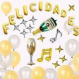 KINGTOP Globos Felicidades Decorados para fiestas Suministros y Decoración para Fiesta & Festivas Lujo Colores Variados Globo Grande de Aluminio y Látex - Aptos para todos los Niños o Adultos