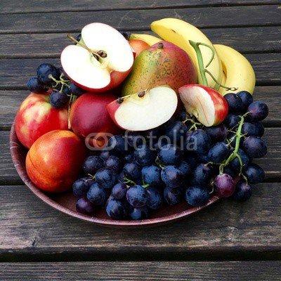 druck-shop24 Wunschmotiv: Frisches Obst mit Nektarinen, Äpfeln und Weintrauben #119596171 - Bild auf Leinwand - 3:2-60 x 40 cm/40 x 60 cm (Frisches Obst Nektarine)