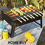 HOMEBUY, Small Portable BBQ Briefcase Style Folding Barbecue Grill Toaster Barbeque