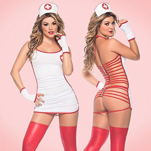 HYW Europa und die Vereinigten Staaten Sexy Kleidung Kleidung Sexy Halfter Hohlen Hüften Sexy Krankenschwester Kleidung Krankenschwester + Krankenschwester Hut + T Hosen + Handschuhe,Weiß,Alle Code -