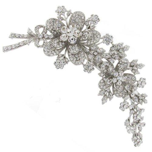 Hair Accessories Direct BHBA14 Barrette à cheveux pour mariée ornée de cristaux Swarovski en forme de fleurs