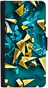 Snoogg Golden And Blue Pieces Designer Protective Phone Flip Back Case Cover For Samsung Galaxy J7 (2016)