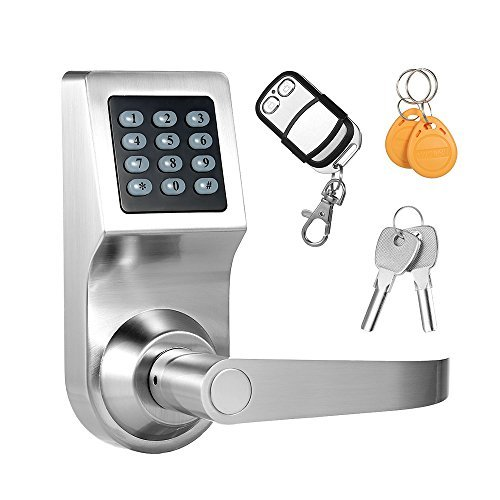 Decdeal 4 in 1 Elektronisches Türschloss durch Code, RF Karte, Fernbedienung, Mechanische Taste