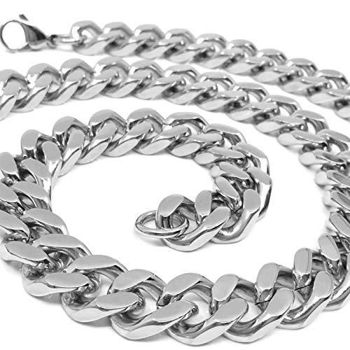 RUGGED STEEL Herren Panzerkette Edelstahl massiv XXL Halskette breit & schwer (14mm / 170g) Karabinerverschluss Farbe Silber hochglanzpoliert (55)