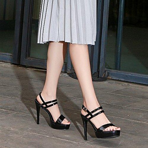 TAOFFEN Femmes Elegant Aiguille Sandales Talons Hauts Plateforme Slingback Chaussures Noir