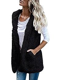 SHOBDW Mujeres invierno cálido chaleco piel sintética zip hasta Sherpa chaqueta sudadera con capucha ropa casual abrigo