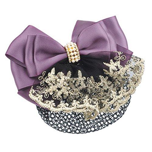 Mesdames Accessoires cheveux Bow Tie barette cheveux pince Snood net, Violet
