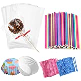 Jatidne 100 Pieces Cake Pop Sticks Lollipop Sticks with Lollipop Bags Ties and Cupcake Wrappers for Lollipop Making Party Fav