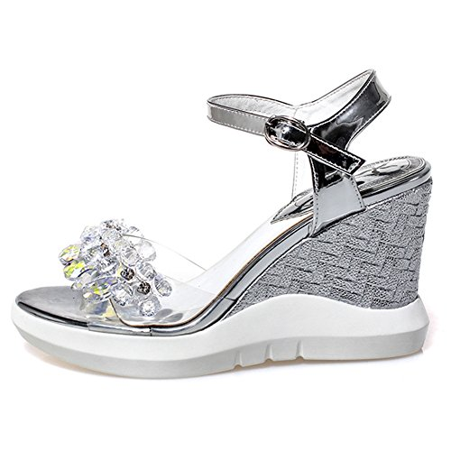 Damen Open Toe Sandalen Kuhleder High-Heel Keilabsatz Two-Piece Knöchelriemchen Silber