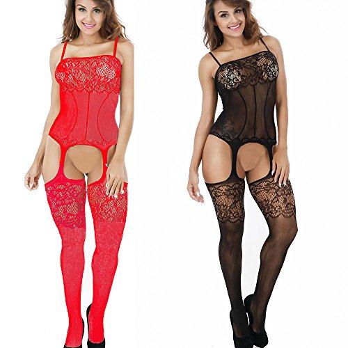 LOVELYBOBO 2-Pack Damen Unterwäschen Reizwäsche Netz Strumpfhose Bodystockings Jumpsuit Frauen Bodysuit Nachtwäsche Dessous