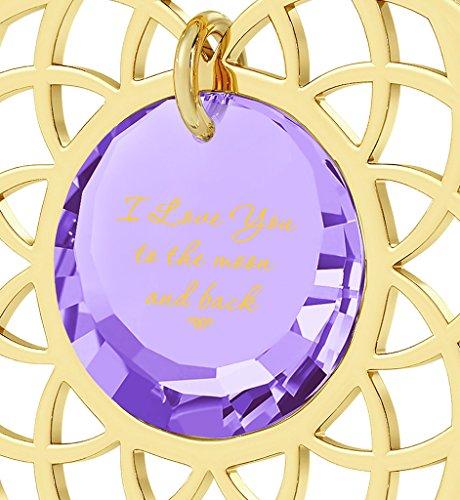 Pendentif Mandala - Bijoux Romantique plaqué Or avec I Love You To The Moon and Back inscrit en Or 24ct sur un Zircon Cubique Rond, Chaine en Or Laminé 45cm - Bijoux Nano Violet Clair