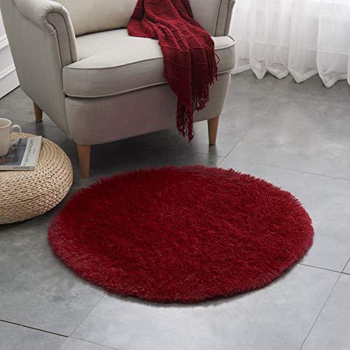 Teppich Wölkchen Hochflor-Plüsch-Teppich I Wohnzimmer Kinderzimmer Schlafzimmer Flur Läufer I rutschfeste Unterseite I Rot - 80 rund
