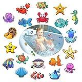 Antiscivolo per il bagno e doccia,Afufu 20 Pezzi Sticker Sea creature Dischi Adesivi Antiscivolo per Piatto Doccia e Vasca da Bagno