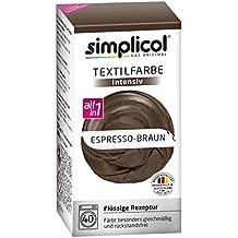 """Simplicol Textilfarbe intensiv all in 1 -Flüssige Rezeptur """"Espresso-Braun"""" Neu!"""