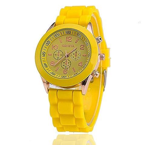 15 colours Ladies brand GENEVA Watch Classic Gel Silicone Jelly watch (Yellow B)