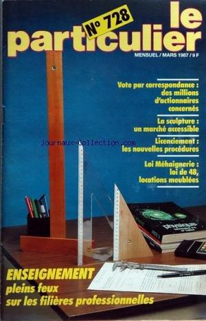 PARTICULIER (LE) [No 728] du 01/03/1987