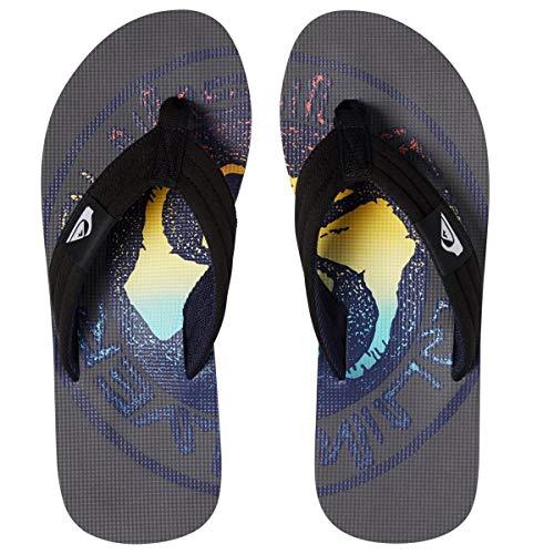 Quiksilver Molokai Layback Flip Flops - Grey/Black/Blue-UK 7