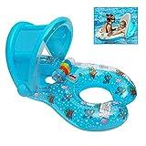Qilerongrong Gonfiabile per Madre e Bambini Baby Float Piscina Neonati 1-3 Anni Presidenza Molle di Sicurezza del Sedile (Blu)