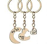 """Hosaire 3x Keychain Taschenanhänger Schlüsselanhänger Mode """"Big/Middle/Little SIS"""" Herzform Anhänger Metall Schlüsselbund Damen Rucksack Taschen Deko Anhänger Auto Keys Schlüsselringe"""