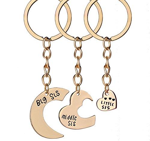 Hosaire 3x Keychain Taschenanhänger Schlüsselanhänger Mode Big/Middle/Little SIS Herzform Anhänger Metall Schlüsselbund Damen Rucksack Taschen Deko Anhänger Auto Keys Schlüsselringe