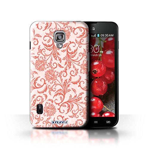 Kobalt® Imprimé Etui / Coque pour LG Optimus L7 II Dual / Fond Orange conception / Série Fleurs Fleurs Rouges