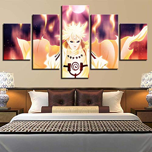 Zmymzm 5 Panel De La Pintura De La Pared La Impresión De La Imagen En La  Lona Naruto Fotos De La Obra para La Decoración Moderna Marco Listo para