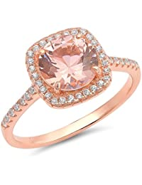 925 Sterling Silver Rose Gold Plated Morganite CZ Ring