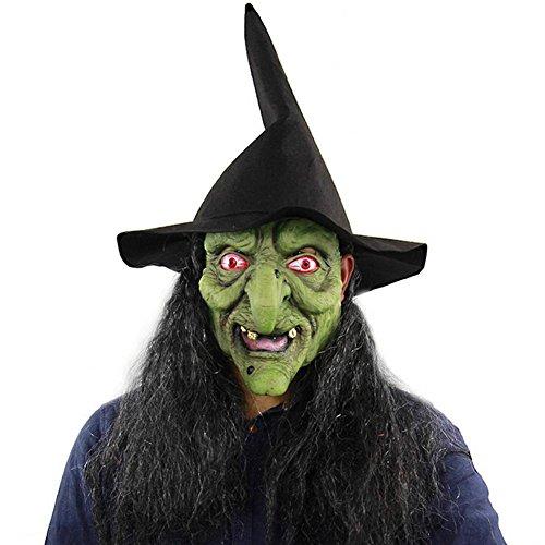 honmei Halloween Horror Hexe Maske mit grünem Kopf und Grauen Haaren Haunted House Room Escape Verkleiden Sich Live-Sendung lustige Hüte