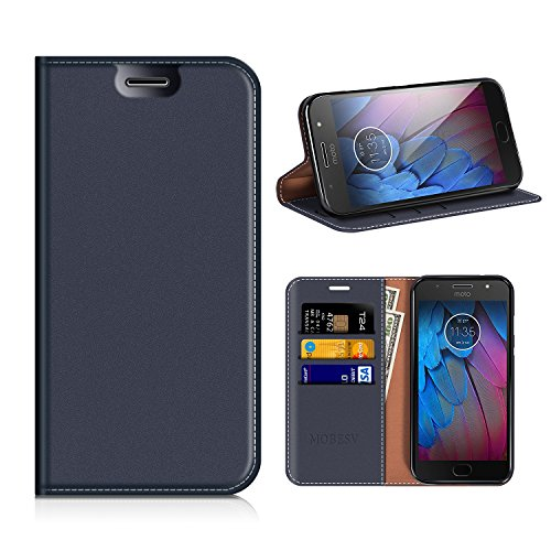 MOBESV Motorola Moto G5S Hülle Leder, Motorola Moto G5S Tasche Lederhülle/Wallet Case/Ledertasche Handyhülle/Schutzhülle mit Kartenfach für Motorola Moto G5S - Dunkel Blau
