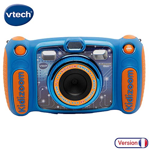 Vtech Kidizoom Duo 5.0 Digitale Kamera für Kinder, 5 MP, Farbdisplay, 2 Objektive, Pink Französische Version Blau