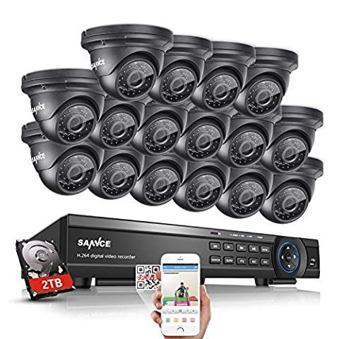 Sannce 1080P HD 16CH Video Security System + 2TB Hard Drive Disk - 16x2.1 MP Weatherproof IP66 CCTV Dome Cameras, Motion Detect, Email Alert, Smart Recording, Day Night Vision, Quick QR Code Smartphone Access, USB